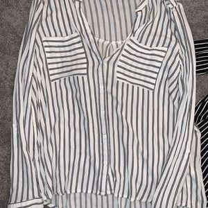 V neck Striped Button Up Blouse